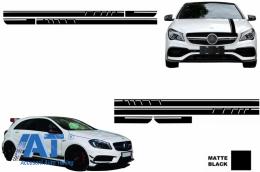 Set Stickere compatibil cu Capota/Plafon/Portbagaj si Laterale Negru Mat Mercedes Benz CLA W117 C117 X117 2013-2016 A45 AMG Design - COSTICKERMBHMB