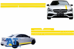 Set Stickere compatibil cu Capota/Plafon/Portbagaj si Laterale Galben Mat Mercedes Benz CLA W117 C117 X117 (13-16) W176 (12-18) A45 A-Design - COSTICKERW117YE
