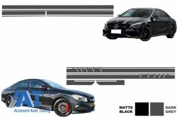 Set Stickere pentru Capota/Plafon/Portbagaj si Laterale Gri Inchis Mercedes Benz CLA W117 C117 X117 2013-2016 A45 AMG Design - COSTICKERW117DG