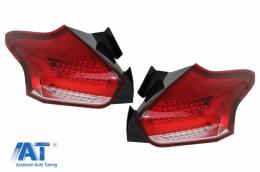 Stopuri Full LED BAR compatibil cu Ford Focus MK 3 Hatchback Facelift (2015-2018) Cu Semnalizare Dinamica Rosu - TLFF3RCLED