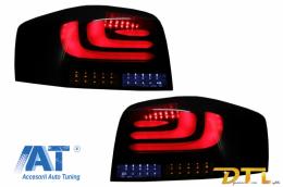 Stopuri Full LED carDNA compatibil cu AUDI A3 8P1 Hatchback (2003-2008) Negru/Fumuriu Semnal Dinamic Secvential - RA09LLBSY