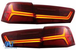 Stopuri Full LED compatibil cu Audi A6 4G C7 (2011-2014) Red/Clear Facelift Design Semnalizare Secventiala - TLAUA64GRC