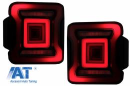 Stopuri Full LED compatibil cu Jeep Wrangler IV JL/JLU (2018-up) Rosu cu Semnal Dinamic si Dinamic StartUp - TLJEWJL