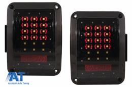 Stopuri Full LED compatibil cu JEEP Wrangler JK 2007-2017 Fumuriu - TLJEWRJK