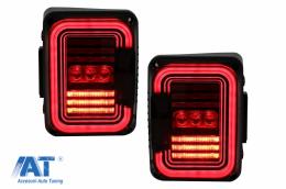 Stopuri Full LED compatibil cu JEEP Wrangler JK (2007-2017) Fumuriu - TLJEWJKLED