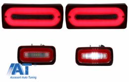 Stopuri Full LED cu Lampa Ceata compatibil cu MERCEDES Benz W463 G-Class (1989-2015) Rosu Semnalizare Dinamica - COTLMBW463LBRFL