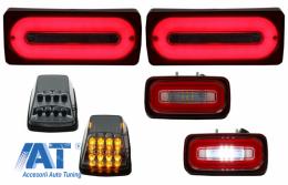 Stopuri Full LED cu Lampa Ceata si Lampi Semnalizare compatibil cu MERCEDES Benz W463 G-Class (1989-2015) Rosu Semnalizare Dinamica - COTLMBW463LBRFLTR