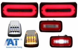Stopuri Full LED cu Lampa Ceata si Lampi Semnalizare Alb Clar compatibil cu MERCEDES Benz W463 G-Class (1989-2015) Rosu Semnalizare Dinamica - COTLMBW463LBRFLTRC