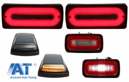 Stopuri Full LED cu Lampa Ceata si Lampi Semnalizare compatibil cu MERCEDES Benz W463 G-Class (1989-2015) Rosu Semnalizare Dinamica - COTLMBW463LBRFLTRMS