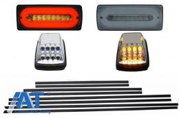 Stopuri Full LED Fumurii cu Bandouri Laterale Negre Lampi Semnalizare Albe LED AMG Design Mercedes Benz W463 G-Class (1989-2015) - COCBMBW463AMGLEDC