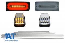 Stopuri Full LED Fumurii cu Bandouri Laterale Aluminiu si Lampi Semnalizare Albe compatibil cu Mercedes Benz W463 G-Class (1989-2015) - COCBMBW463AMGLEDCS