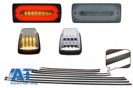 Stopuri Full LED Fumurii cu Bandouri Laterale Carbon Lampi Semnalizare Albe LED AMG Design Mercedes Benz W463 G-Class (1989-2015) - COCBMBW463AMGLEDCC