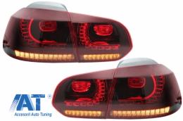 Stopuri Full LED VW Golf 6 VI (2008-2013) R20 Design Rosu Fumuriu - TLVWG6R20RS