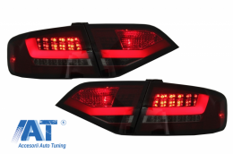 Stopuri LED compatibil cu AUDI A4 B8 Sedan Limousine (2008-2011) Rosu Fumuriu - TLAUA4B8LIMS