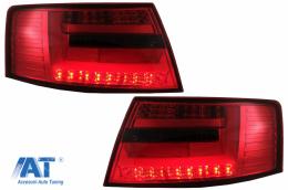 Stopuri LED compatibil cu Audi A6 C6 4F Sedan (04.2004-2008) 7-PIN Rosu Fumuriu - TLAUA64F7PINS