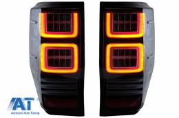 Stopuri LED compatibil cu Ford Ranger (2012-2018) Geam Clar cu Semnal Dinamic - TLFRNGT6