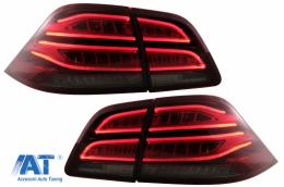 Stopuri LED LightBar compatibil cu Mercedes M-Class W166 (2012-2015) Rosu Clar LHD - TLMBW166LED