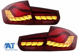 Stopuri OLED compatibil cu BMW Seria 3 F30 (2011-2019) F35 F80 Rosu Clar M4 Design cu Semnal Dinamic Secvential - TLBMF30RCNL