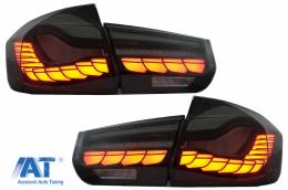 Stopuri OLED compatibil cu BMW Seria 3 F30 (2011-2019) F35 F80 Rosu Fumuriu M4 Design cu Semnal Dinamic Secvential - TLBMF30RSNL