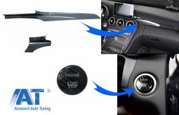 Trim Interior Consola si Ornament Buton Pornire compatibil cu Mercedes C-Class W205 (2015-2017) Carbon Fiber Style LHD - COINTRIMW205